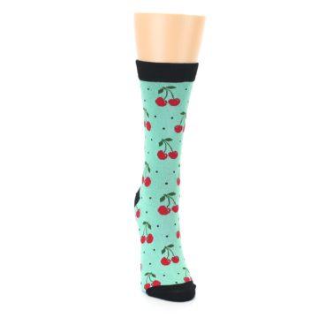 Image of Green Red Cherries Women's Bamboo Dress Socks (front-04)