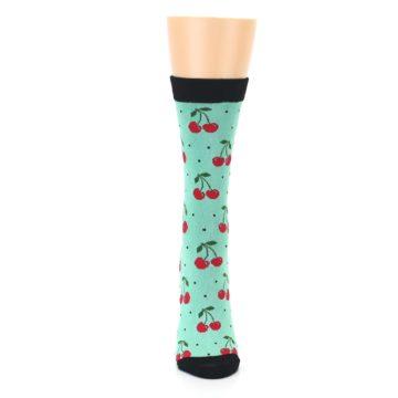 Image of Green Red Cherries Women's Bamboo Dress Socks (front-05)