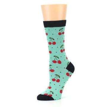 Image of Green Red Cherries Women's Bamboo Dress Socks (side-2-10)