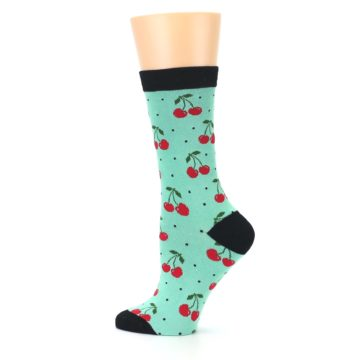 Image of Green Red Cherries Women's Bamboo Dress Socks (side-2-13)