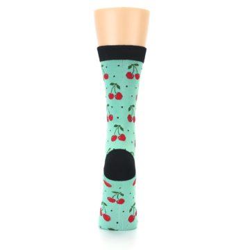 Image of Green Red Cherries Women's Bamboo Dress Socks (back-19)