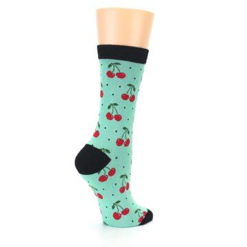 Image of Green Red Cherries Women's Bamboo Dress Socks (side-1-23)