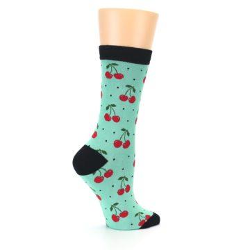 Image of Green Red Cherries Women's Bamboo Dress Socks (side-1-24)