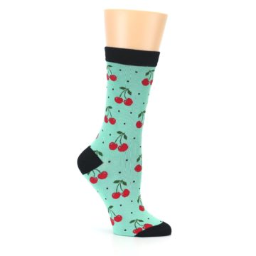 Image of Green Red Cherries Women's Bamboo Dress Socks (side-1-26)