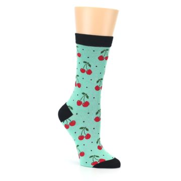 Image of Green Red Cherries Women's Bamboo Dress Socks (side-1-27)