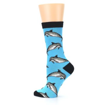 Image of Blue Grey Dolphin Women's Bamboo Dress Socks (side-2-13)