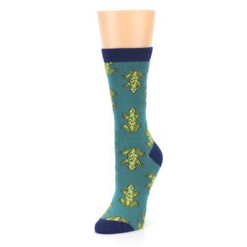 Image of Aqua Green Frogs Women's Bamboo Dress Socks (side-2-front-08)