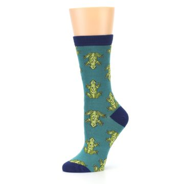 Image of Aqua Green Frogs Women's Bamboo Dress Socks (side-2-10)