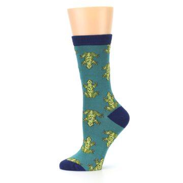 Image of Aqua Green Frogs Women's Bamboo Dress Socks (side-2-11)