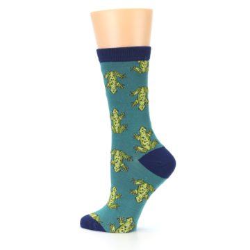 Image of Aqua Green Frogs Women's Bamboo Dress Socks (side-2-13)