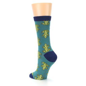 Image of Aqua Green Frogs Women's Bamboo Dress Socks (side-2-back-15)