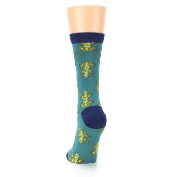 Image of Aqua Green Frogs Women's Bamboo Dress Socks (back-17)