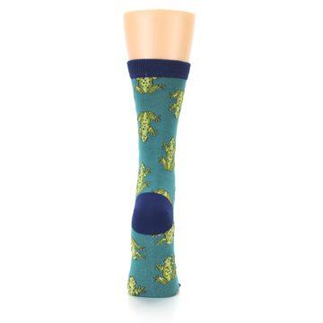 Image of Aqua Green Frogs Women's Bamboo Dress Socks (back-19)