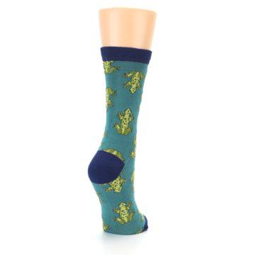 Image of Aqua Green Frogs Women's Bamboo Dress Socks (side-1-back-21)