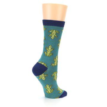 Image of Aqua Green Frogs Women's Bamboo Dress Socks (side-1-23)
