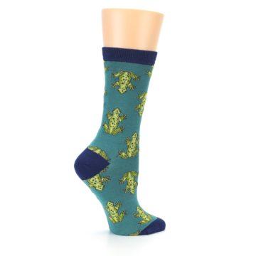 Image of Aqua Green Frogs Women's Bamboo Dress Socks (side-1-24)
