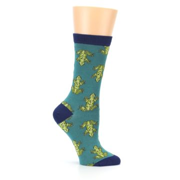 Image of Aqua Green Frogs Women's Bamboo Dress Socks (side-1-25)