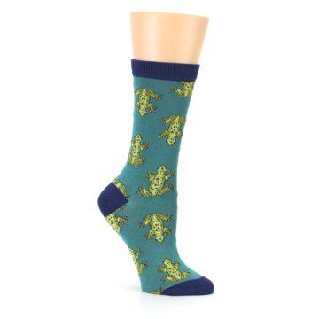 Image of Aqua Green Frogs Women's Bamboo Dress Socks (side-1-26)