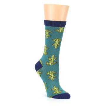 Image of Aqua Green Frogs Women's Bamboo Dress Socks (side-1-27)
