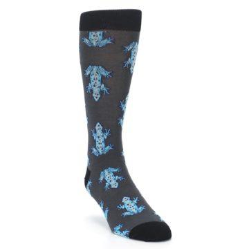 Image of Charcoal Blue Frogs Men's Dress Socks (side-1-front-02)
