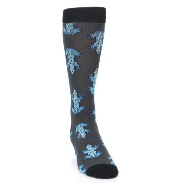 Image of Charcoal Blue Frogs Men's Dress Socks (side-1-front-03)
