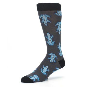 Image of Charcoal Blue Frogs Men's Dress Socks (side-2-09)