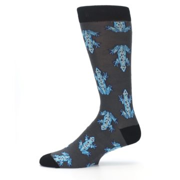 Image of Charcoal Blue Frogs Men's Dress Socks (side-2-11)