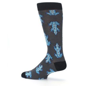 Image of Charcoal Blue Frogs Men's Dress Socks (side-2-13)