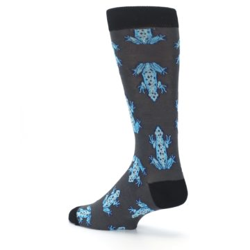Image of Charcoal Blue Frogs Men's Dress Socks (side-2-back-14)