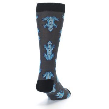 Image of Charcoal Blue Frogs Men's Dress Socks (side-1-back-20)
