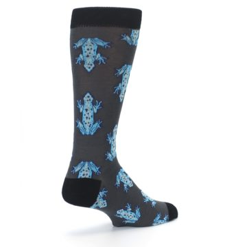 Image of Charcoal Blue Frogs Men's Dress Socks (side-1-back-22)
