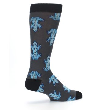 Image of Charcoal Blue Frogs Men's Dress Socks (side-1-23)