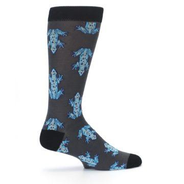 Image of Charcoal Blue Frogs Men's Dress Socks (side-1-24)