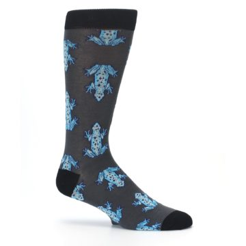 Image of Charcoal Blue Frogs Men's Dress Socks (side-1-25)