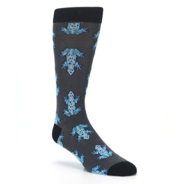 Image of Charcoal Blue Frogs Men's Dress Socks (side-1-27)