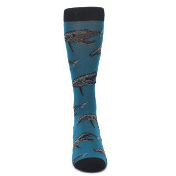 Image of Marine Blue Whales  Men's Dress Socks (front-04)