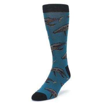 Image of Marine Blue Whales  Men's Dress Socks (side-2-front-07)