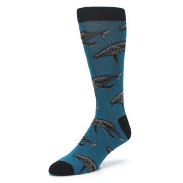 Image of Marine Blue Whales  Men's Dress Socks (side-2-front-08)