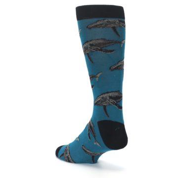Image of Marine Blue Whales  Men's Dress Socks (side-2-back-15)