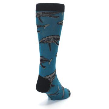 Image of Marine Blue Whales  Men's Dress Socks (side-1-back-20)