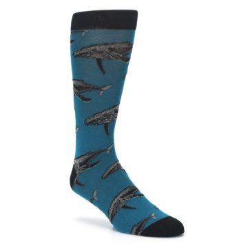 Image of Marine Blue Whales  Men's Dress Socks (side-1-27)
