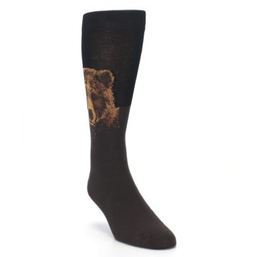 Image of Brown Black Grizzly Bear Men's Dress Socks (side-1-front-02)