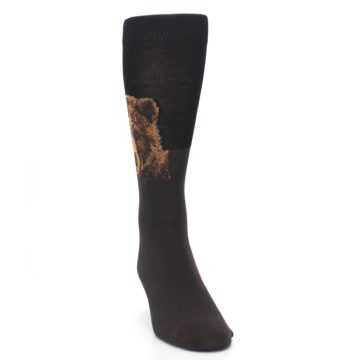 Image of Brown Black Grizzly Bear Men's Dress Socks (side-1-front-03)