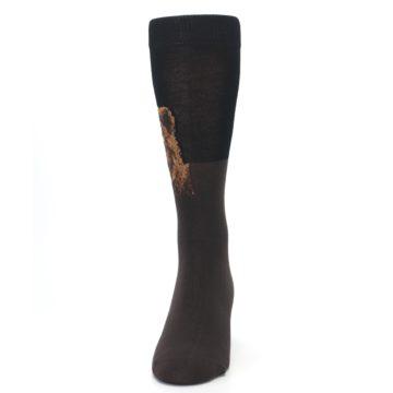 Image of Brown Black Grizzly Bear Men's Dress Socks (front-05)