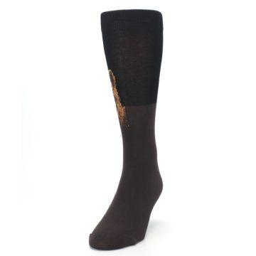 Image of Brown Black Grizzly Bear Men's Dress Socks (side-2-front-06)
