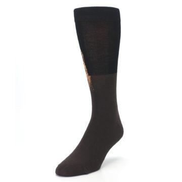 Image of Brown Black Grizzly Bear Men's Dress Socks (side-2-front-07)