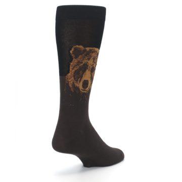 Image of Brown Black Grizzly Bear Men's Dress Socks (side-1-back-21)