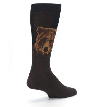 Image of Brown Black Grizzly Bear Men's Dress Socks (side-1-back-22)