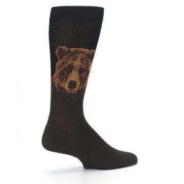 Image of Brown Black Grizzly Bear Men's Dress Socks (side-1-23)