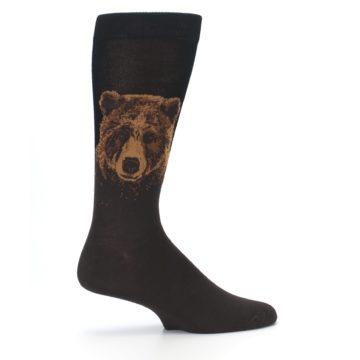 Image of Brown Black Grizzly Bear Men's Dress Socks (side-1-24)